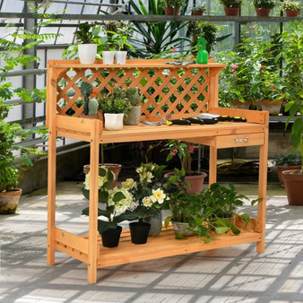 Garden Wood Work Potting Bench Station With Hook (GT3623)