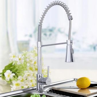 Chrome Kitchen Bath Spring Pull Out Faucet Single Hole Mixer Water Tap (BA7050)
