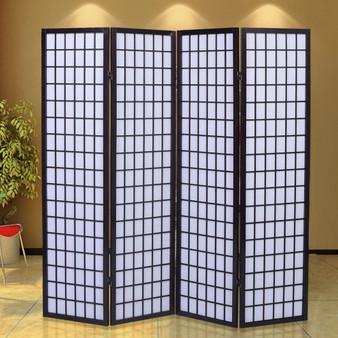4 Panels Cherry Solid Wood Room Screen (HW48385CHR)