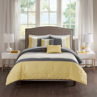 100% Polyester 85G Microfiber 5Pcs Comforter Set - Full/Queen 5DS10-0059