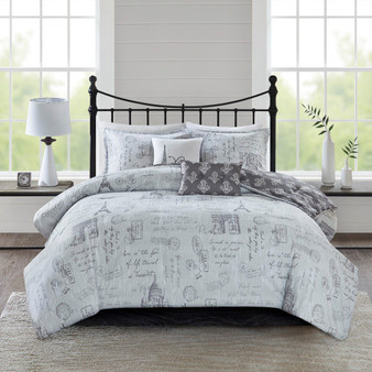 100% Polyester Microfiber 5Pcs Reversible Paris Printed Comforter Set - King/Cal King 5DS10-0175