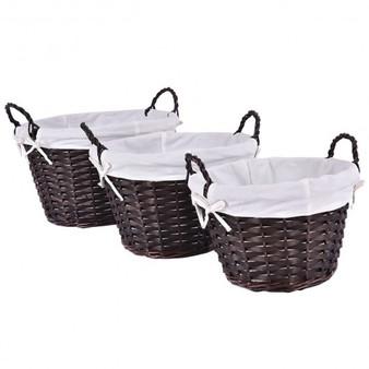 Set Of 3 Round Hand-Woven Willow Storage Basket (HW52623)