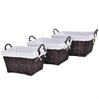 Set Of 3 Hand-Woven Willow Wicker Storage Basket (HW52625)