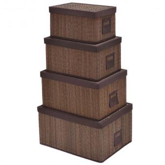 Set Of 4 Bamboo Storage Baskets Folding Organizer With Lids (HW52626)