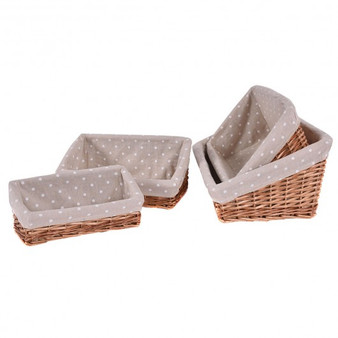 Set Of 4 Hand-Woven Wicker Willow Storage Baskets With Lining (HW52629)