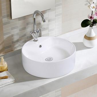 "18""X18"" Round Bathroom Basin Ceramic Vessel Sink Bowl Porcelain W/ Pop Up Drain (BA7148)"