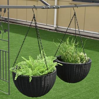 "Set 0F Two 13.8"" Round Pe Rattan Hanging Planters (HW54906)"
