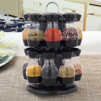16 Jar Revolving Spice Rack Herb Rotating Countertop (KC42565)