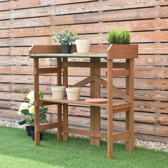 Wooden Potting Bench Garden Planting Workstation Shelves (GT3005)