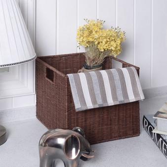 Set Of 3 Cube Wicker Rattan Storage Baskets (HW55611)