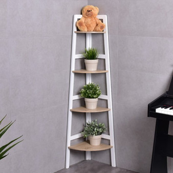 4-Tier Wood Corner Display Shelf Rack (HW55487)