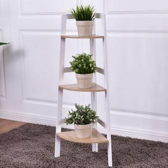 3-Tier Wood Corner Display Shelf Rack (HW55486)