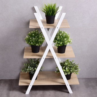 3-Tier Display X-Shaped Ladder Shelves (HW55482)