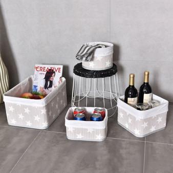 4 Pcs Fabric Lined Bamboo Storage Star Pattern Baskets Set (HW56073)