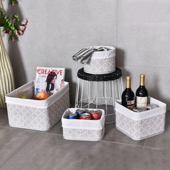 4 Pcs Fabric Lined Bamboo Storage Flower Pattern Baskets Set (HW56074)