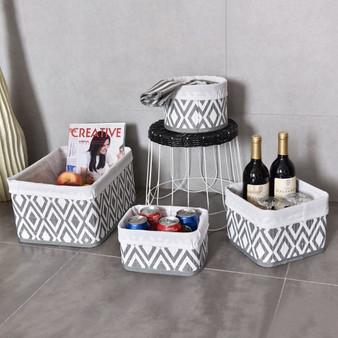 4 Pcs Fabric Lined Bamboo Storage Diamond Pattern Baskets Set (HW56075)