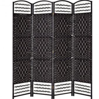 """67"""" Folding Woven 4 Hinged Panel Freestanding Room Divider-Black (HW56076BK)"""