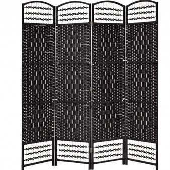 "67"" Folding Woven 4 Hinged Panel Freestanding Room Divider-Coffee (HW56076CF)"