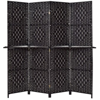 Folding Removable 4 Panel Woven Room Divider-Black (HW56081BK)