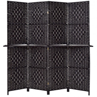 Folding Removable 4 Panel Woven Room Divider-Coffee (HW56081CF)