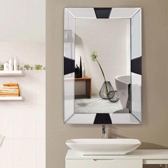 "23.5"" X 35.5"" Rectangular Wall-Mounted Wooden Frame Bathroom Mirror (HW56054)"