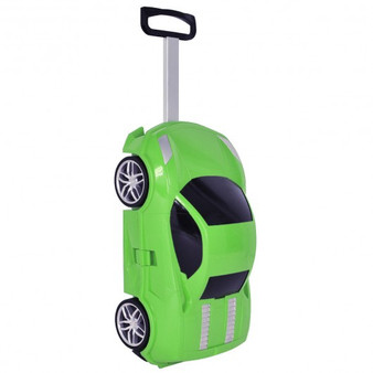 Kid Car Shape Pull Along Travel 3D Trolley Luggage-Green (TY572343GN)