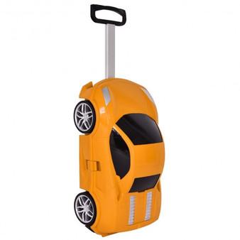 Kid Car Shape Pull Along Travel 3D Trolley Luggage-Orange (TY572343OR)