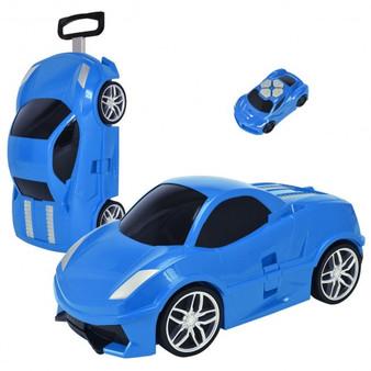 2.4 G Radio Control Kid Car Shape Travel Trolley Suitcase-Blue (TY572345BL)