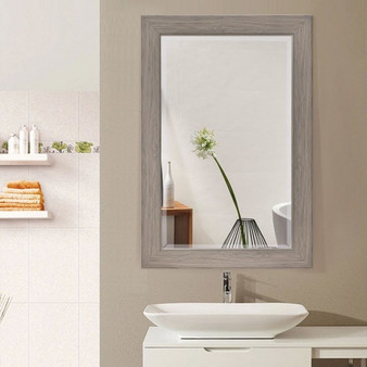 """23.5"""" X 35.5"""" Rectangle Wooden Frame Wall-Mounted Vanity Mirror (HW56056)"""