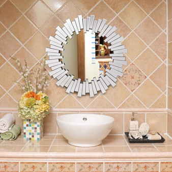 """31.5"""" Round Beveled Sunburst Wooden Wall-Mounted Mirror (HW56058)"""