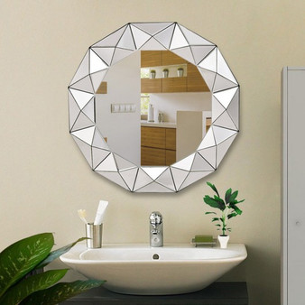 """31.5""""Dia Round Beveled Wooden Frame Wall-Mounted Mirror (HW56059)"""