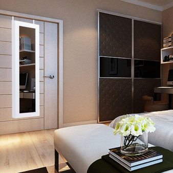 Door Mounted Mirrored Armoire Storage Jewelry Cabinet (HW54410)