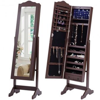 Mirrored Armoire Storage Jewelry Cabinet W/ Drawer & Light (HW54407)