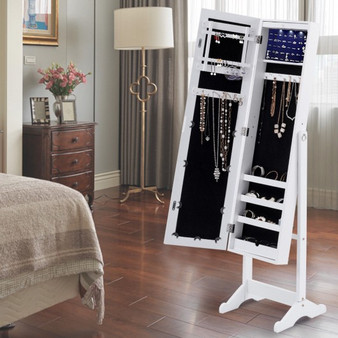 Standing Storage Mirrored Jewelry Cabinet With Led Lights (HW54406)