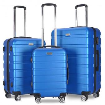 Globalway 3 Pcs Spinner Hardshell Luggage Travel Set-Black (BG50220BK)