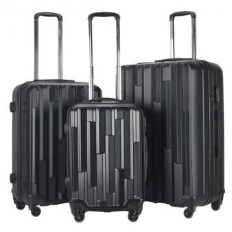 Globalway 3 Pcs Spinner Lightweight Luggage Travel Set (BG50230BK)