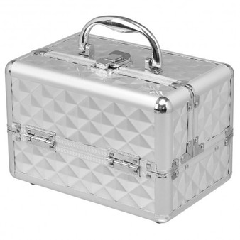Beauty Cosmetic Makeup Case With Mirror & Extendable Trays-Silver (HB85369SL)