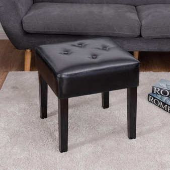 Square Pu Leather Tufted Padded Ottoman Footstool (HW56748)