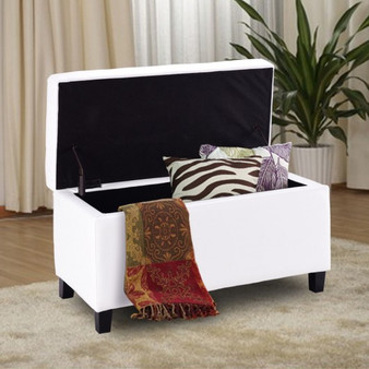 """32"""" Faux Leather Storage Footrest Ottoman Bench-White (HW56827WH)"""