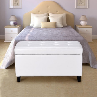 """33.5"""" Single Pu Leather Storage Footstool Ottoman Bench-White (HW56833WH)"""