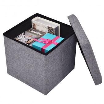 Folding Storage Square Footrest Ottoman-Gray (HW54447GR)