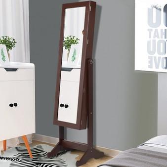 Lockable Armoire Storage Mirrored Jewelry Cabinet W/ Stand (HW54416)
