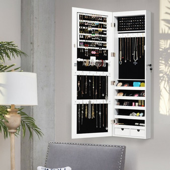 Door Mounted Lockable Mirrored Jewelry Cabinet With Led Lights (JV10082)