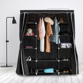 "60"" Non-Woven Fabric Wardrobe Storage Portable Clothes Closet-Black (HW57333BK)"