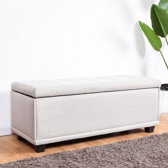 "40"" Storage Ottoman Bench Footstool-Gray (HW57501GR)"