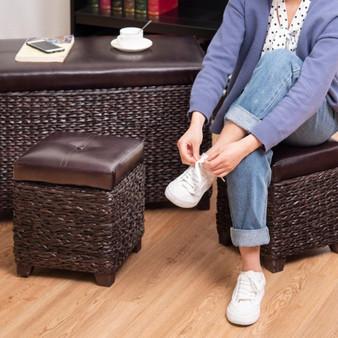 3 Pcs Rattan Seating Storage Bench Hassocks Leather Ottoman (HW57357)