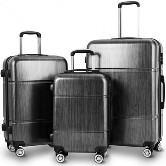 "3 Pcs Globalway Luggage Set 20"" 24"" 28"" Trolley Suitcase W/ Tsa Lock-Black (BG50333BK)"