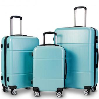 """3 Pcs Globalway Luggage Set 20"""" 24"""" 28"""" Trolley Suitcase W/ Tsa Lock-Light Blue (BG50333NY)"""