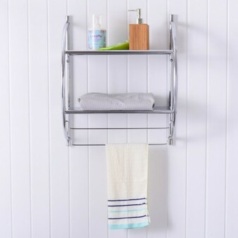 2 Tier Wall Mount Shower Organizer Toilet Bathroom Storage Rack (HW54056)