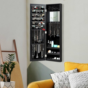 Wall Door Mounted Mirrored Jewelry Cabinet Storage Organizer-Black (JV10087BK)